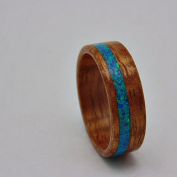 Golden Koa wood ring with blue/green Opal inlay Bentwood ring