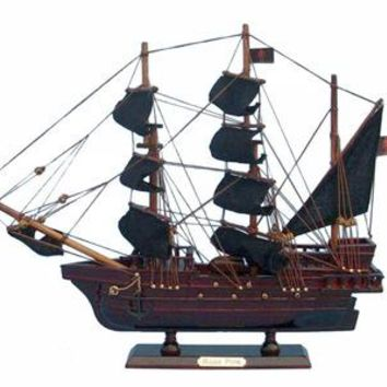 Wooden Ed Low's Rose Pink Model Pirate Ship 14""