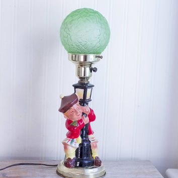Vintage Bar Lamp with Drunk Man Leaning on Lamp Post, Scottish Guy in Kilt, Green Glass Globe Shade