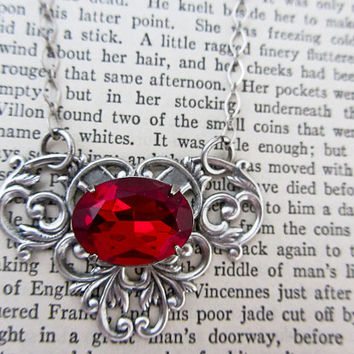 Red Rhinestone Necklace Filigree Silver Oxidized Siam  Baroque Jewelry