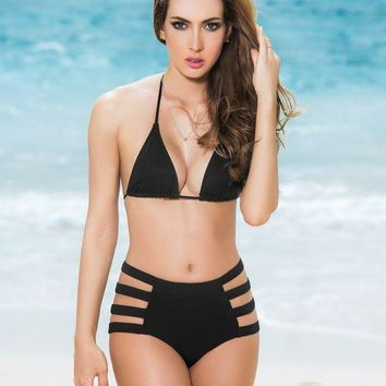 DCCKAV3 Black Strappy High Waist Swimsuit Bottom