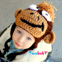 Boy Monkey Hat Newborn, 0-3, 3-6, 6-12 month, Toddler, Infant Monkey Brown Great Photo Prop, Baby Earflap Hat