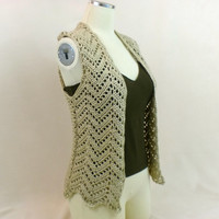 Lace Summer Cardigan Vest Chevron Sleeveless Zig Zag Beige Camel Cream Off White Ivory