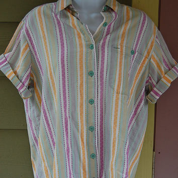Vintage 80s 90s Oversize Pastel Tribal Southwest Stripe Timber Creek by Wrangler Short Sleeve Blouse Top Shirt Size Medium