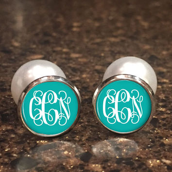 Monogrammed Double Sided Earrings | Monogram Personalized Earrings | Style 382
