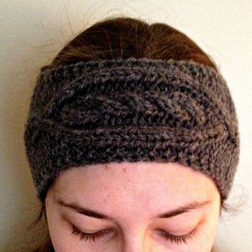 Cable knit headband, knit ear warmer, grey headband, gray headband, hand knit headband, headwrap, ladies headband, womens headband, teenage