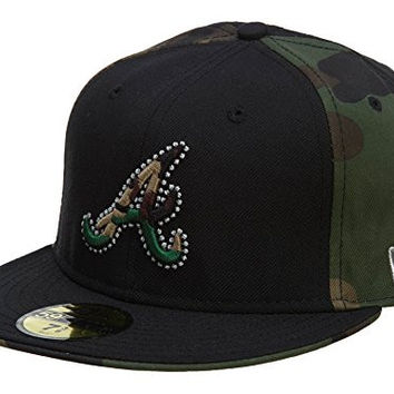 New Era Atlanta Braves Fitted Hat Mens Style: HAT646-MILITARY GREEN/BLACK Size: 7.375