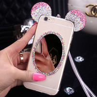 2016 New 3D Cute Cartoon Bling Diamond Rhinestone Mickey Minnie Mouse Ears Case Clear Mirror Cover for iPhone 6 6s 4.7 Plus 5.5