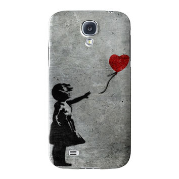 Banksy Girl with Heart Balloon Full Wrap High Quality 3D Printed Case for Samsung Galaxy S4 by Banksy