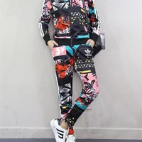 """Adidas"" Women Casual Multicolor Pattern Print Zip Cardigan Coat Long Sleeve Trousers Set Two-Piece Sportswear"