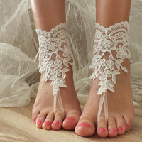 Free Ship ivory laceBarefoot Sandals, french lace, Beach wedding barefoot sandals