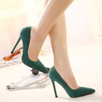 All-match Fashion Suede Shallow Mouth Pointed Toe Shoes Women Heels Shoes