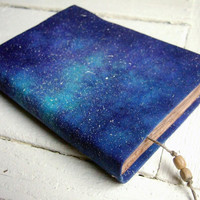 Cosmos - handmade journal, notebook, navy blue, stars