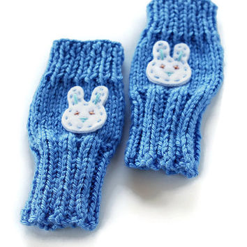 Easter Bunny Gloves, Cute Toddlers Fingerless Gloves, Boys Bunny Gloves, Bunny Gloves, Rabbit Kids Gloves,  Easter Gloves, Berry Blue