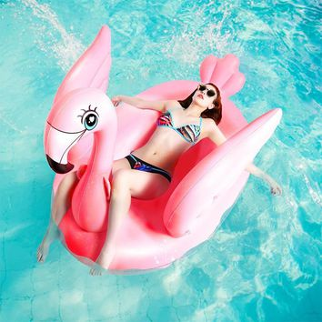 1.5m 60inches Inflatable Pink Flamingo Swimming Floats Ride-on Water Toys Beach Pool Fun Boia 2018 Newest INS Flamingo Swim Ring