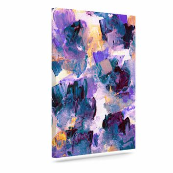 """Ebi Emporium """"Floral Spray 2"""" Green Teal Floral Abstract Painting Mixed Media Art Canvas"""
