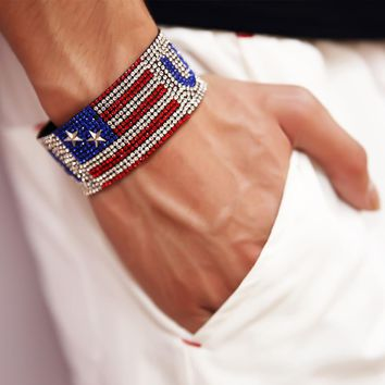 Hip Hop Rapper Five Stars Drilling USA Bracelets With Fully Bracelet Bling Rhinestone Club Jewelry Gifts Bangle Hand Belt