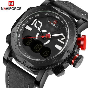 NAVIFORCE NF9094BGY Sport Men's Quartz Digital Leather Strap Army Military Watch