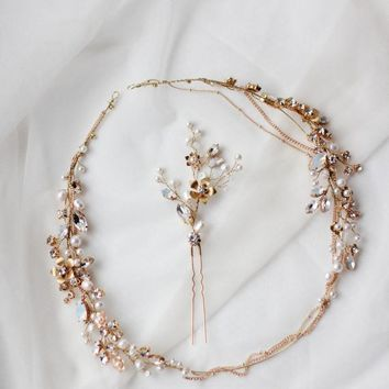 Bridal Head Chain and Pin Set Forehead Wedding Halo Chain Headpiece Circlet Halo Headchain Headband Wreath Chain Piece Gold Silver Beach