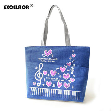Music Print Canvas Beach Bags Shopping Soft Sling Shoulder Tote Purse
