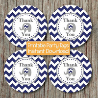 Thank You Tags Elephant Printable Instant Download Baby Shower Favor Tags Labels diy Baby Shower Party Decoration Navy Blue Grey Chevron 165
