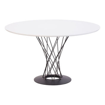Spiral Dining Table White Painted Steel