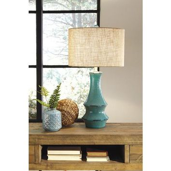 L100584 Jenci Ceramic Table Lamp (1/CN) - Antique Teal - Free Shipping!