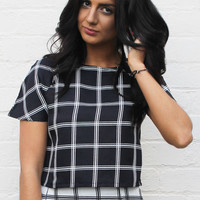 Grid Print Boxy Short Sleeve Crop Top in Black with White