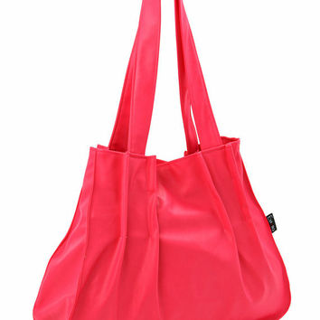 Hot Neon PINK SHOULDER BAG, Laptop 15 bag, Vegan feminine purse, Large size bag, everyday student bag - pleats