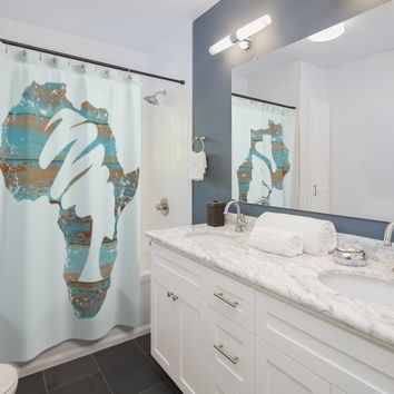 Blue Mama Africa Shower Curtain