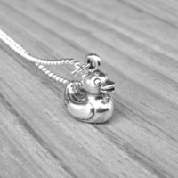 Rubber Duck Necklace, Sterling Silver