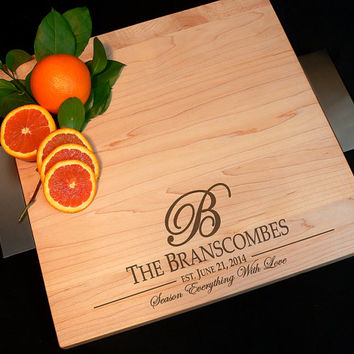 Personalized Modern Cutting Board w/ Brushed Nickel Handles and Non Skid Rubber Feet Maple Wood Serving Tray Wedding Gift Anniversary Gift