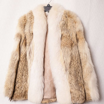 Jean Patou Paris Marshall Field & Company Fur Coat, Real Coyote with Arctic Fox Trim Fur Coat, Medium Coyote and Arctic Fox Fur Coat