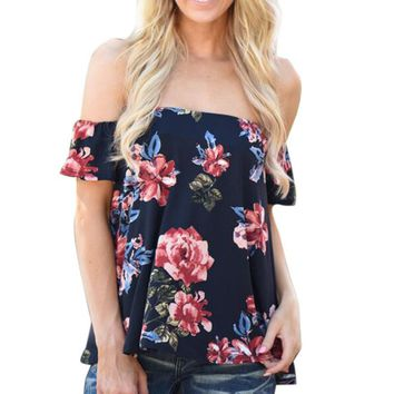 Off shoulder Lady Blouse Casual Tops Sexy loose Navy Female Shirts