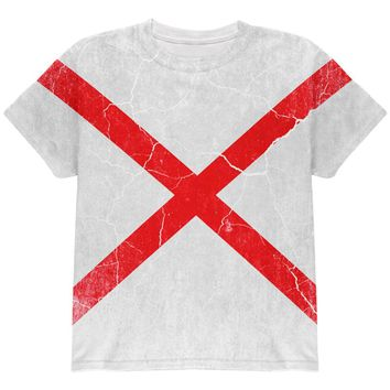 Alabama Vintage Distressed State Flag All Over Youth T Shirt