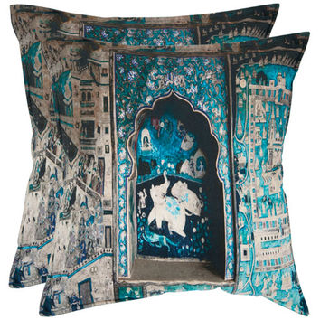 Safavieh Home Furniture PIL450A-1818-SET2 Adari 18-Inch Turquoise and Grey Decorative Pillows - Set of Two