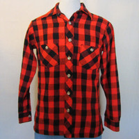 Vintage Amazing 70s GRUNGE PLAID FLANNEL Wool Blend Unisex Small Medium Button Up Outdoor Warm Shirt