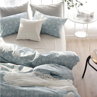 White Floral Printed Blue Colored Twin / Queen / King Size Bedding Set
