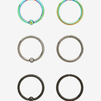 Steel Rainbow Black CZ Captive & Seamless Hoop 6 Pack