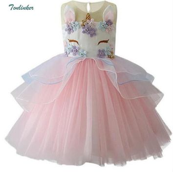 Girls Princess Unicorn Costume Tulle Tutu Dress Summer Sleeveless Costume Birthday Party Fancy up Dress Vestidos