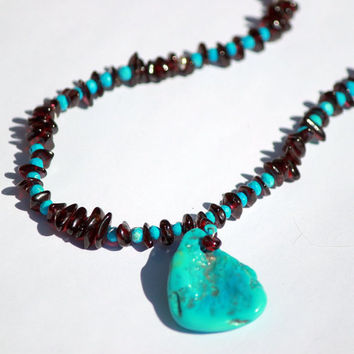Sleeping Beauty Turquoise and Garnet Necklace