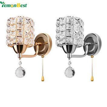 Modern Style Wall Light Cylinder Crystal Holder with Pendant and Pull Switch AC 85-250V E14 Socket Wall Lamp
