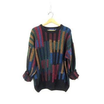 Retro 90s Sweater Black Cotton Knit Chunky Sweater Striped Abstract Pullover Boyfriend Jumper Grunge Slouchy Colorful Sweater Men's Large