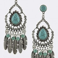 TRIBAL FAUX TURQUOISE FEATHER FRINGE DROP EARRINGS