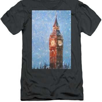 Pastel Painting Of Big Ben Tower In London - Men's T-Shirt (Athletic Fit)