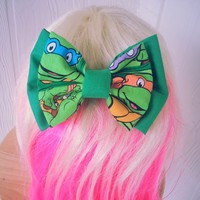 TMNT hair bow , girls hair bow , turtle hair bow , fabric bow , hair bow , Teenage Mutant Ninja Turtles Hair Bow , Ninja Turtles bow