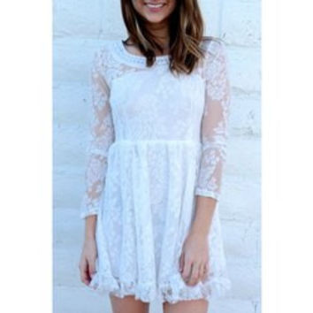 Romantic Beaded Scoop Neck High Waist Ruffled White Lace Dress For Women