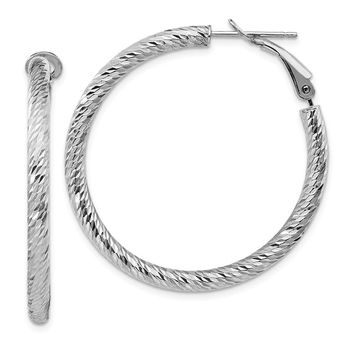 14k White Gold 3 x 30 mm Diamond-cut Omega Back Hoop Earrings