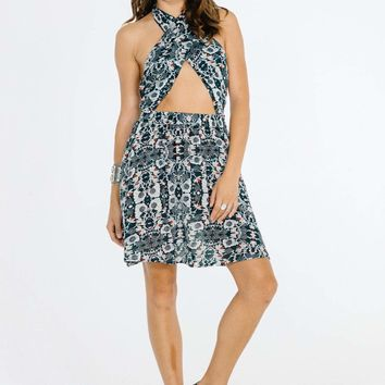 CORA WRAP HALTER DRESS