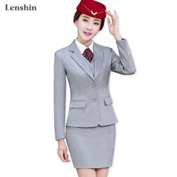 Lenshin Gray 4 Piece Set Office Ladies Skirt Suit Uniform Designs Women Business Suits for work Formal Wear